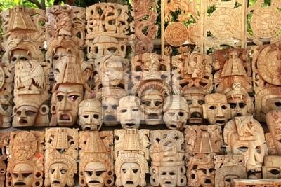 Cuadro Mayas Filas Máscara De Madera Caras De Artesanías De México
