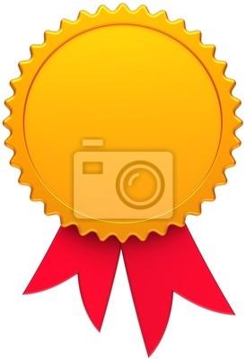 Medalla de oro de la concesión en blanco con cinta roja. Insignia Ganador