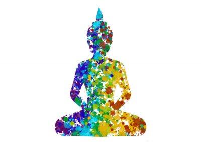 Cuadro Meditar Buda postura en colores del arco iris