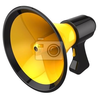 Megáfono (amarillo con las piezas negras). Procesamiento 3D (alta resolución)