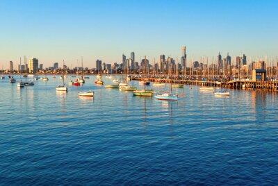 Cuadro Melbourne skyline from St Kilda at sunset (Victoria, Australia)
