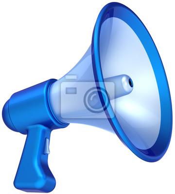 Mensaje de anuncio de noticias megáfono de color azul altavoz