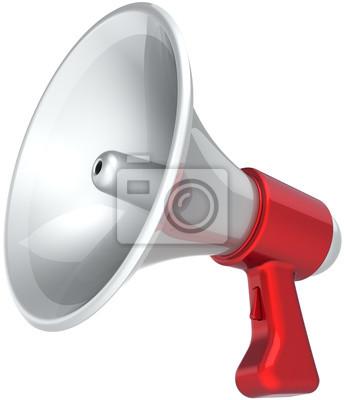 Mensaje de noticias megáfono de propaganda de color rojo blanco