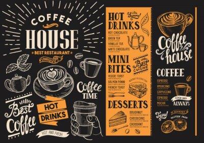 Cuadro Menú del restaurante de café. Folleto de bebidas para bar y cafetería. Plantilla de diseño con ilustraciones de comida vintage dibujados a mano.