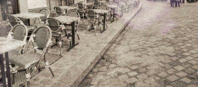 Cuadro Mesas de restaurante al aire libre en París, vista vintage