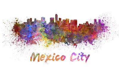 Cuadro Mexico City skyline in watercolor