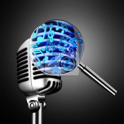 Microfono Retro Con Notas Musicales Sobre Fondo Negro Pinturas Para
