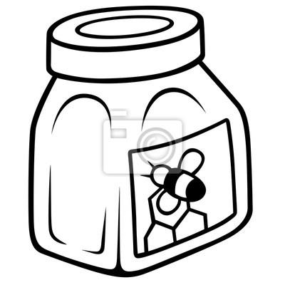 Miel en el tarro de cristal - ilustración de dibujos animados ...