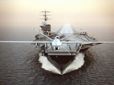 Cuadro Militares aviones Drone lanzamiento de un portaaviones en una misión de huelga. Representación 3d