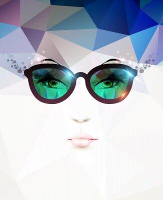 Cuadro moda mujer con gafas