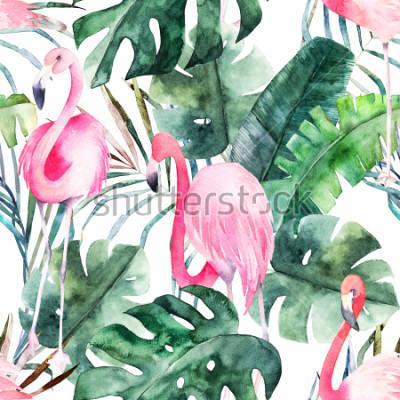 Cuadro Modelo con el flamenco y las hojas tropicales. Estampado acuarela de verano. Dibujado a mano exótico ilustración