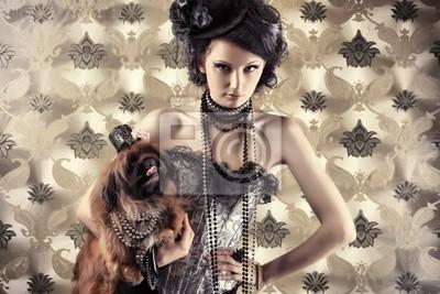 modelo con el perro
