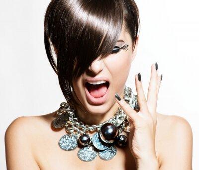 Cuadro Modelo de modas Retrato de chicas. Emociones. Trendy Hair Style