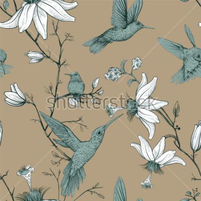 Cuadro Modelo del bosquejo del vector con los pájaros y las flores. Modelo inconsútil antiguo con las flores exhaustas. Papel tapiz floral provenzal. Diseño para web, papel de regalo, portada, textil, tela,