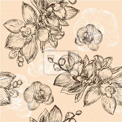 Cuadro Modelo floral inconsútil con la orquídea
