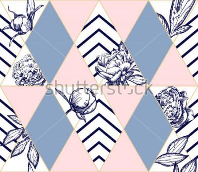Cuadro Modelo geométrico geométrico de moda elegante con las flores de la peonía. Textura ideal para la moda. Elemento de diseño vectorial