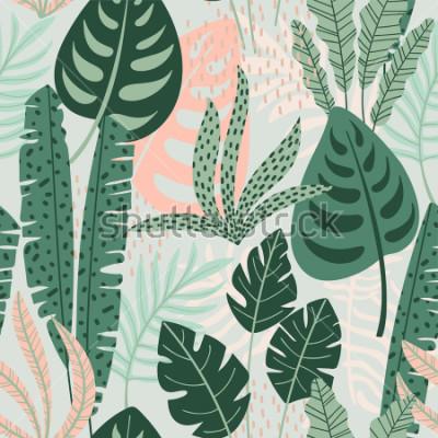 Cuadro Modelo inconsútil abstracto con las hojas tropicales. Mano dibujar textura. Plantilla de vector