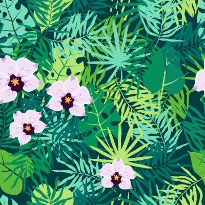 Cuadro Modelo inconsútil de la selva con las hojas y la orquídea tropicales.