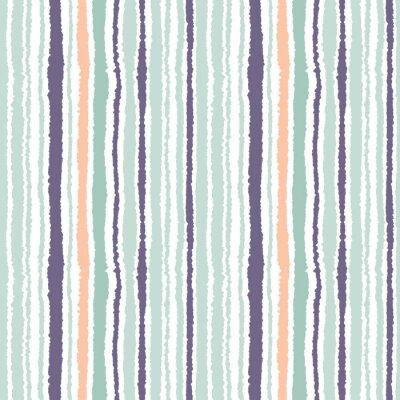 Cuadro Modelo inconsútil de la tira. Líneas verticales con efecto de papel rasgado. Triturar el fondo del borde. Color gris claro y oscuro, oliva, turquesa en blanco. Vector