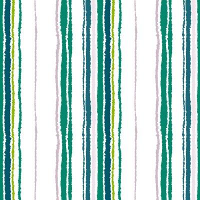 Cuadro Modelo inconsútil de la tira. Líneas verticales con efecto de papel rasgado. Triturar el fondo del borde. Contraste de luz y gris oscuro, verde oliva, colores en blanco. Vector