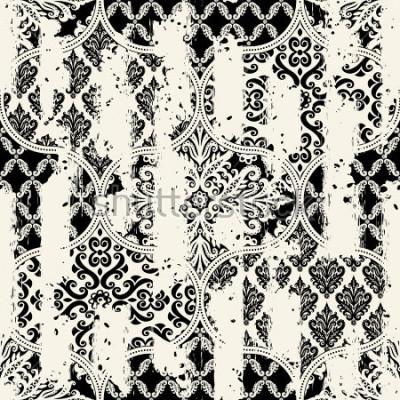 Cuadro Modelo inconsútil de la vendimia con un efecto de desgaste. Azulejos de patchwork.