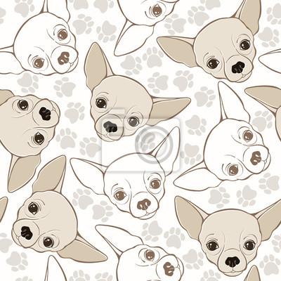 Modelo Inconsútil Del Vector Con El Perro Chihuahua Y Huellas