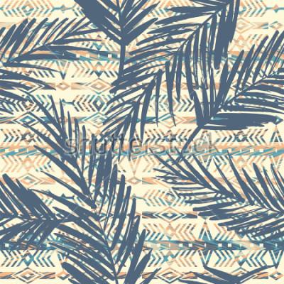Cuadro Modelo inconsútil étnico tribal con las hojas de palma. Vector de fondo