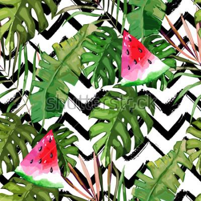 Cuadro Modelo inconsútil tropical. Hojas de palmera y sandía. Dibujado a mano ilustración Fondo de verano Estilo acuarela