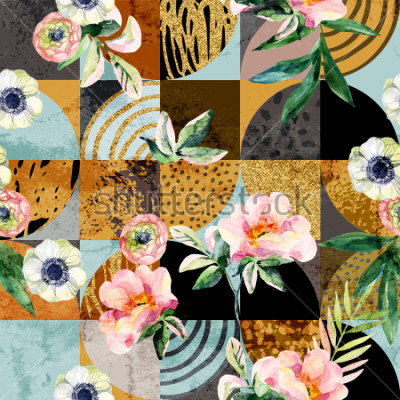 Cuadro Modern seamless geometric and floral pattern: watercolor flowers and leaves on semicircles, circles, squares, grunge, golden glitter textures, doodles abstract background. Art illustration
