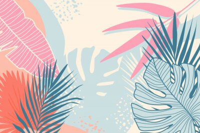 Cuadro Modern tropical background. Jungle plants nature backdrop. Summer palm leaves wallpaper.
