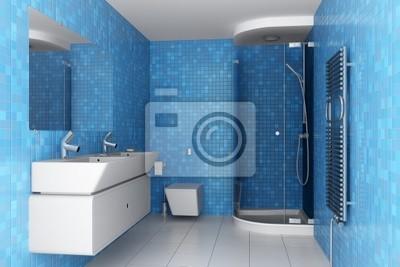 Moderno cuarto de baño con azulejos azules en la pared y el equipo ...