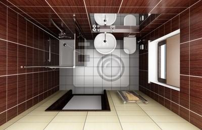 Moderno cuarto de baño con azulejos de color marrón. vista desde ...