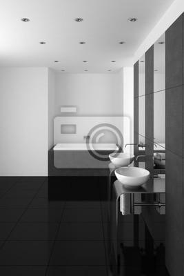Moderno cuarto de baño con lavabo doble y suelo negro ...