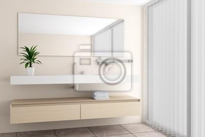 Cuadro: Moderno cuarto de baño con pared de color beige
