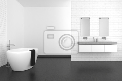 Moderno cuarto de baño con pared de ladrillo blanco y piso oscuro ...