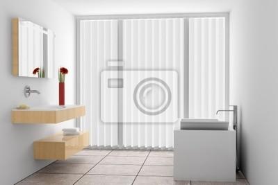Cuadro: Moderno cuarto de baño con paredes blancas