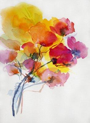 Cuadro Mohnblumen malerei aquarell