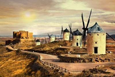 Cuadro Molinos de viento de España en la puesta del sol
