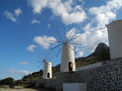 Molinos de viento en la meseta de Lassithi, Creta