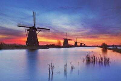 Molinos de viento tradicionales en la salida del sol, Kinderdijk, Países Bajos