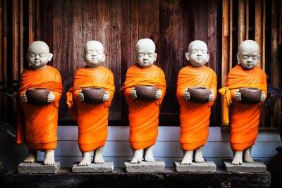 Cuadro Monje, estatua, tenencia, cuenco