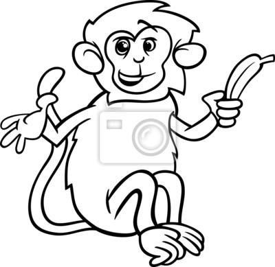 Mono con página para colorear plátano pinturas para la pared ...
