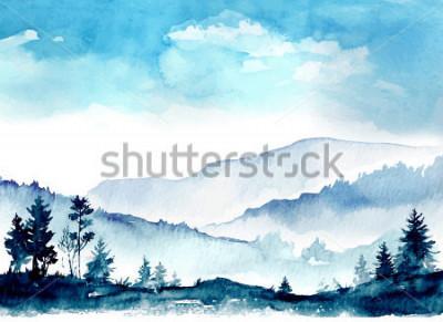 Cuadro montañas de acuarela