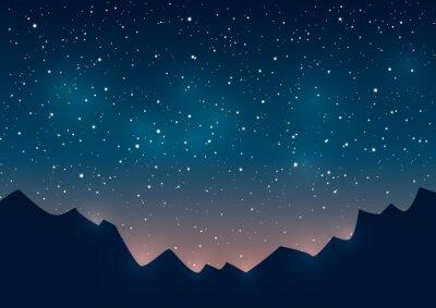 Cuadro Montañas siluetas sobre fondo estrellado