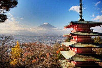Cuadro Monte Fuji con los colores del otoño en Japón.