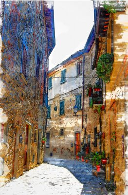 Cuadro Montefioralle, one of the most beautiful villages of Tuscany, Italy