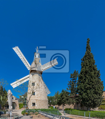 Montefiore windmill, Jerusalem. It is a famous municipal museum and public domain in Israel