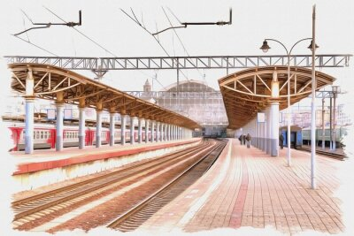 Cuadro Moscow city. Railway station platform. Imitation of a picture. Oil paint. Illustration