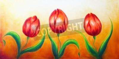 Cuadro Motivo de la flor, tres flores rojas bailando del tulipán, pintura colorida brillante hermosa en el fondo del ocre