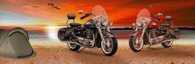 Cuadro Motocicleta, bicicleta en la playa al atardecer en la tarde